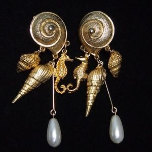 Snail with Charms Vintage Dangle Earrings
